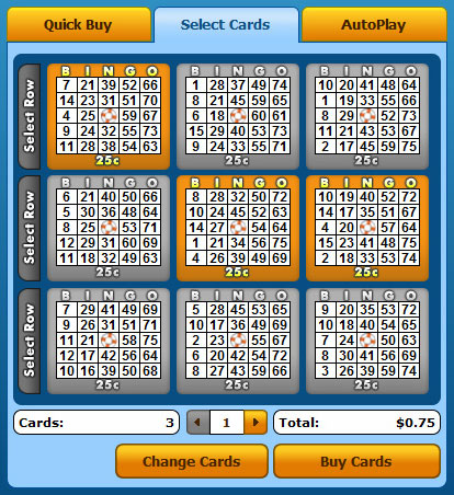 selecting bingo liner 75 ball bingo cards