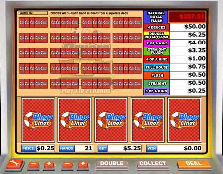 bingo liner deuces wild video poker online casino game