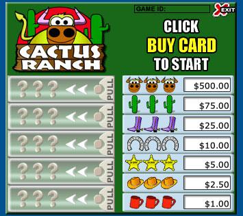 bingo liner cactus ranch pull tabs online instant win game