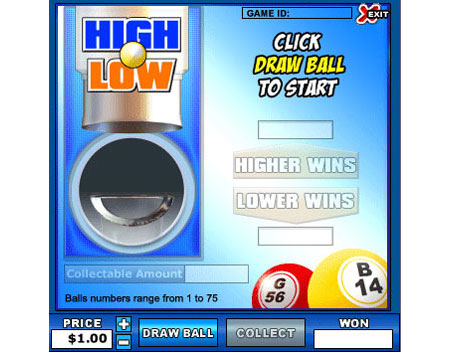 bingo liner high low online instant win game