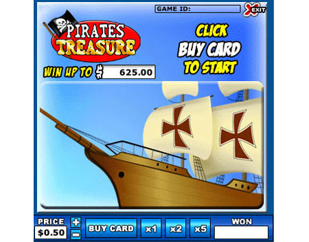 bingo liner pirates treasure online instant win game