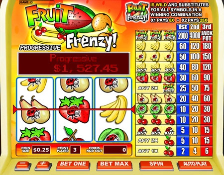 bingo liner fruit frenzy 3 reel online slots game