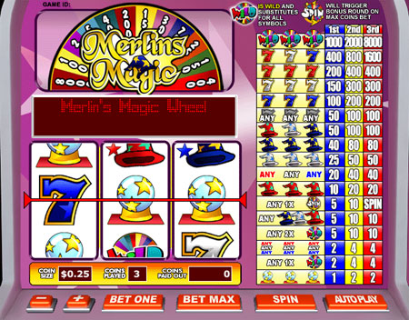 bingo liner merlins magic 3 reel online slots game