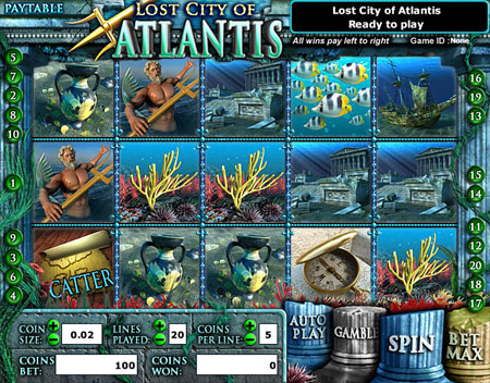 bingo liner lost city of atlantis 5 reel online slots game